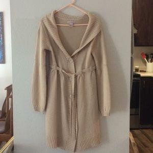 Beige Belted sweater coat